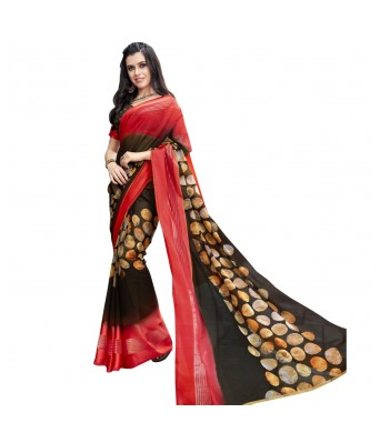 Triveni Brown Faux Georgette Everyday Wear Printed Sarees