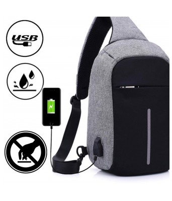 Home Story Waterproof Anti Theft and USB Charging Crossbody Backpack Tablet Bag for  Ipad, Grey Black Color