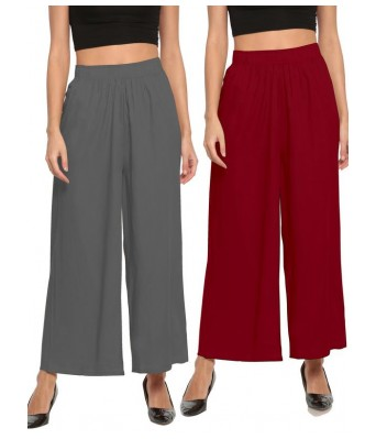 The Moon Maroon And Grey Stlyist Woman Palazzo 2 Piece Combo