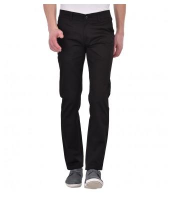 AFW Mens Black Regular Wear Casual Trouser