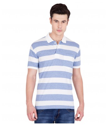 American-Elm Mens Cotton Stripes Polo T-shirts- Blue&White