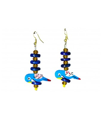 Art By Sargam Handicrafts Wooden Material Blue Bird Pearl Earrings with Green Button For Women And Girls_Green