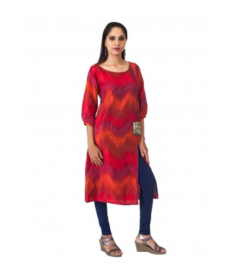THE SIGNATURE ATTIRE RED JACQUARD WOMENS KURTI WITH POCKET