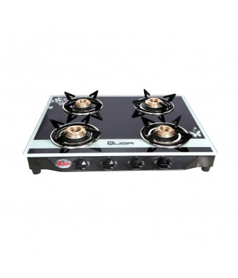 Quba B4 Silver Star Rectangular Digital Glass Manual Gas Stove 4 Burner