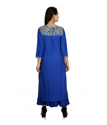 Dark Blue Neck Printed and Navy Blue Color Designer Stylish Casual 2 Kurti With 2 Palazzo Set Combo
