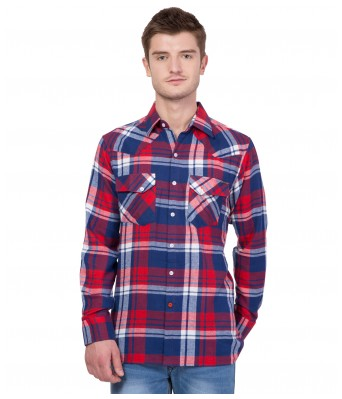 American-Elm Men's Full Sleeves Red Cotton Casual Shirt