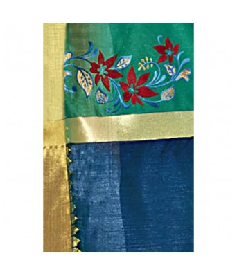 Shakunt Weaves Sea Green Color Art Silk Party Wear Embroidered Saree