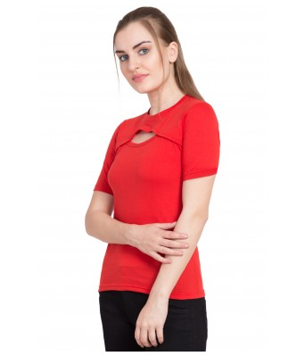 LeSuzaki Womens Red Front Cut Cotton Top