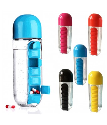 Daily 600ml Pill Box Organizer With Water Bottle Weekly Seven Compartments With Drinking Bottle
