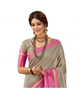 Shakunt Weaves Grey Cotton Silk Casual Wear Plain Saree