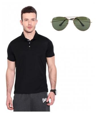 Ansh Fashion Wear Cotton Blend Polo T-Shirt With Free Sunglass