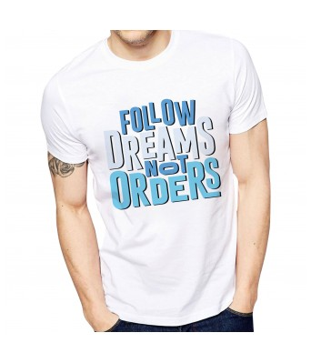 Ghantababajika Mens Printed Follow Dreams T-Shirt | Quote Printed T-Shirts