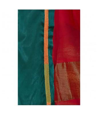 Shakunt Weaves Red Cotton Silk Casual Wear Plain Saree