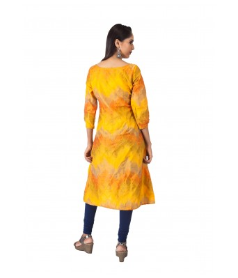 THE SIGNATURE ATTIRE YELLOW JACQUARD KURTA WITH POCKET
