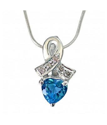 Real Diamond & Heart Shaped Blue Topaz Pendant with 18