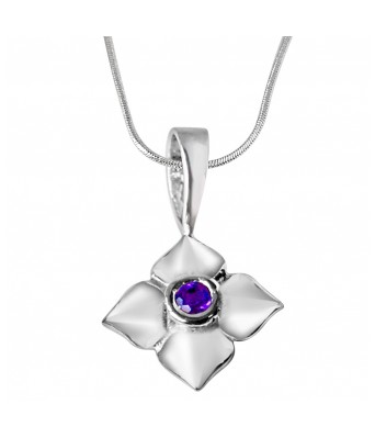 Growing Flower Amethyst & Sterling Silver Pendant with 18