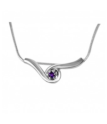 Sleeping Beauty Amethyst & Sterling Silver Pendant with 18